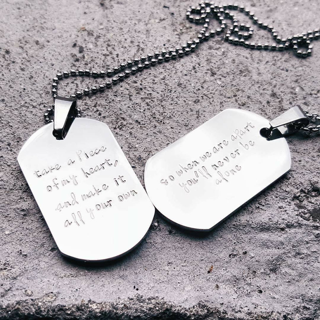 Millitary tag keychain | couples set | friendship gift | dog tag