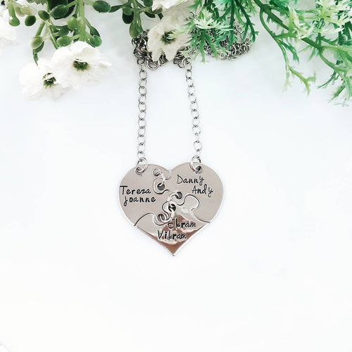 3 piece personalized heart puzzle keychain/ necklace