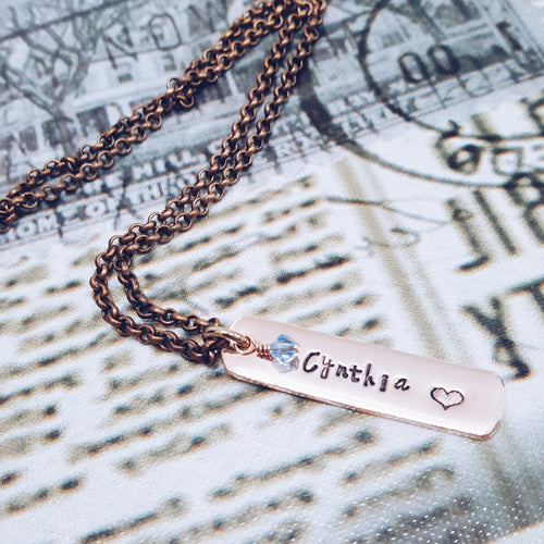 Copper Tag Necklace With Monthly Birthstone