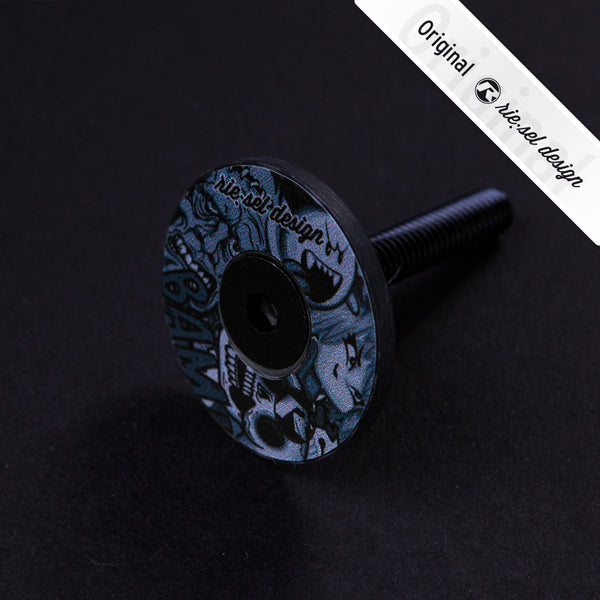 Head-set Stem Cap Ultrablack Stickerbomb - Green Monkey Velo