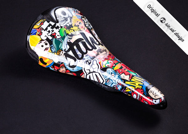 Carbon Stickerbomb Saddle - Green Monkey Velo