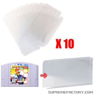 Lot 10 Retro Nintendo N64 Game Cartridge Clear Scratch Resistant Protector Case