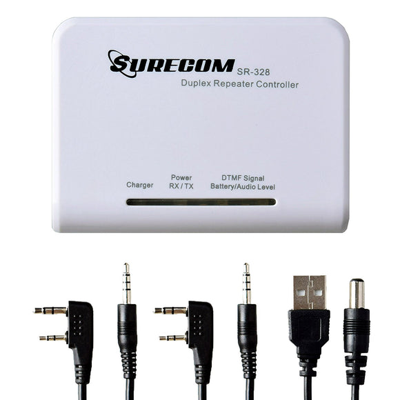 Surecom SR-328 Cross Band Radio Duplex Repeater Controller with 2 pcs K Plug Cable