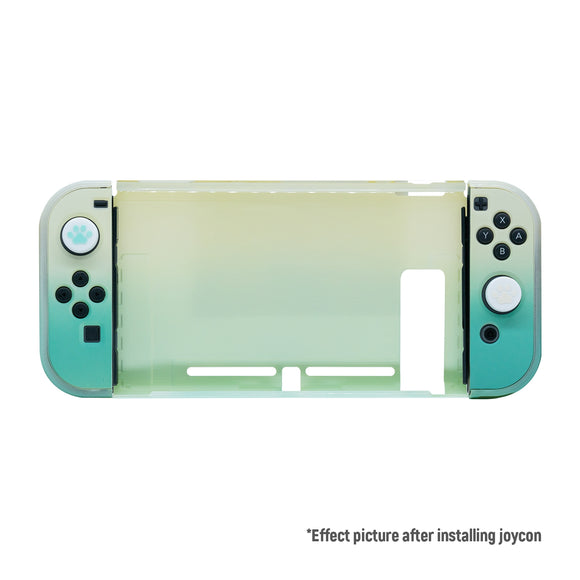 Latest Project Design Dockable Protective Case Shell with for Joy-con Faceplate and Thumb Cap for Nintendo Switch Pink/Blue