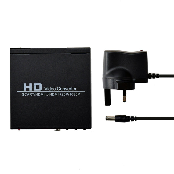AV Audio Video Scart to Coaxial HDMI Adapter Converter Box UK Plug