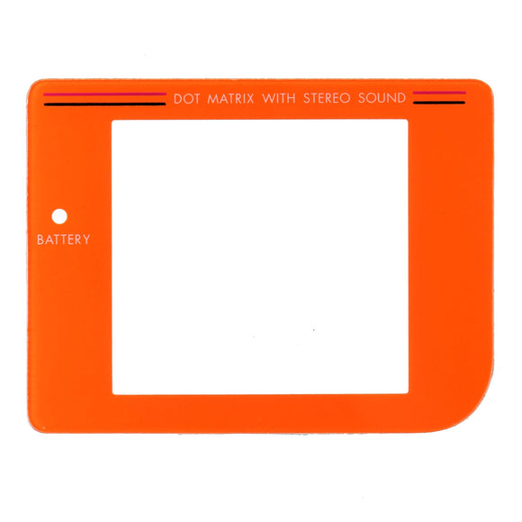 Nintendo GameBoy Replacement Parts Clear Screen Plastic Orange