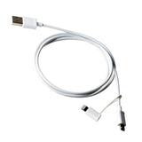 1M Lightning & Micro USB 2-in-1 Charge & Data Sync Cable White