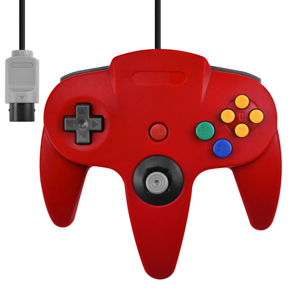 Nintendo N64 Full Size Wired Controller Game Pad Red