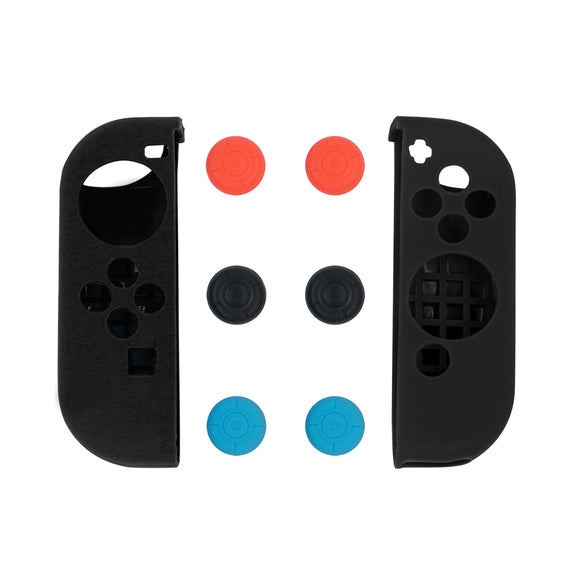 Black Silicone Case with 3-Set Thumb Stick Caps for Nintendo Switch Joy-Con Controller