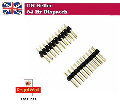 Straight Double Row PCB Pin Headers 2.54mm, 2 x 10-way for micro:bit Pack of 2