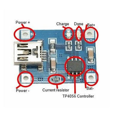 5V Mini USB 1A Lithium Battery Charging Board TP4056 Charger Module