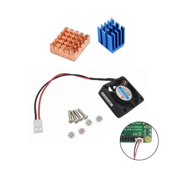 Copper Aluminium Heatsinks AND Cooling Fan Kit for All Raspberry Pi Models 3 2 B