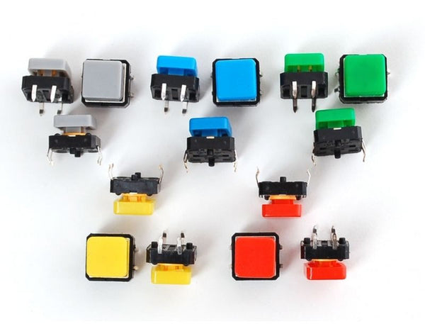 Colourful Tactile Button Switch 12x 12x7.3mm Assortment Square CAPS 5/10/20 PCS