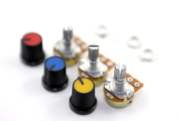 10K Linear Pot B10K Potentiometer with Coloured Knob PCB 3 pcs
