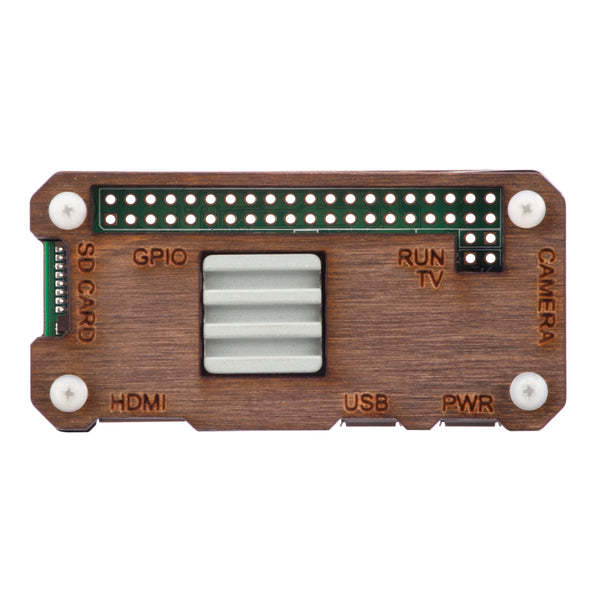 Raspberry Pi Zero W Case with Ceramic Heatsink - Dark Wood