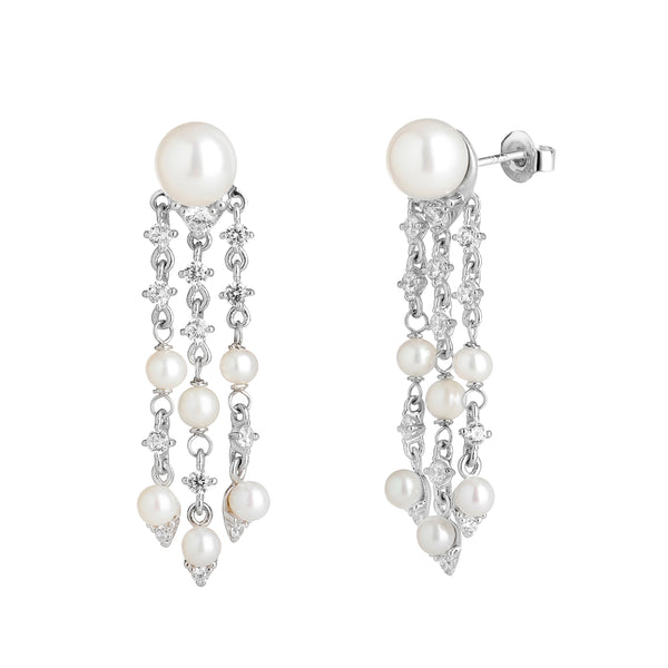 SMALL FRESHWATER PEARL & CZ CHANDELIER EARRINGS
