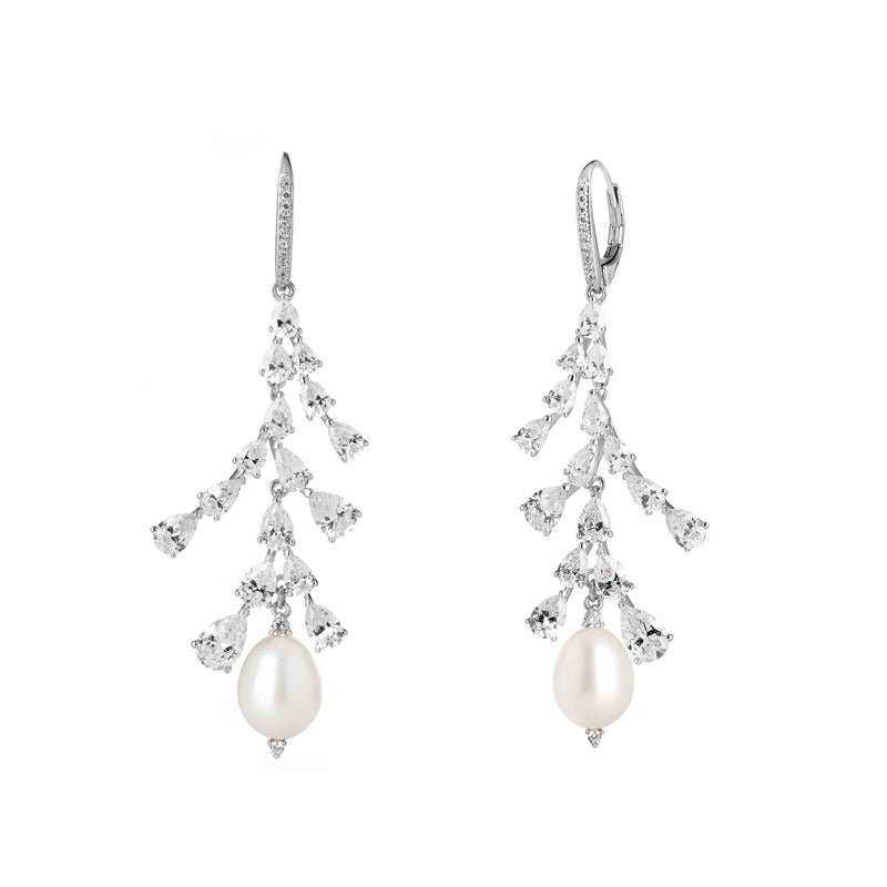CZ & FRESHWATER PEARL CHANDELIER EARRINGS