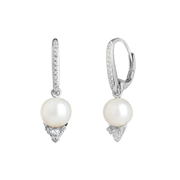 SMALL CZ & FRESHWATER PEARL DROP EARRINGS