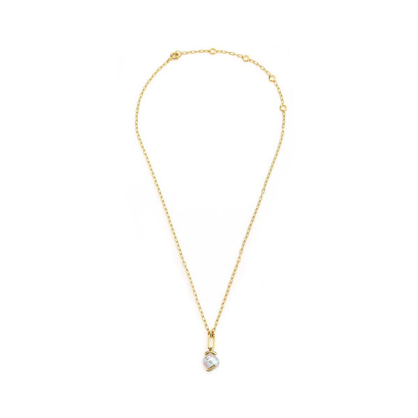 FRESHWATER PEARL AND DIAMOND PAVE DETAIL DROP NECKLACE