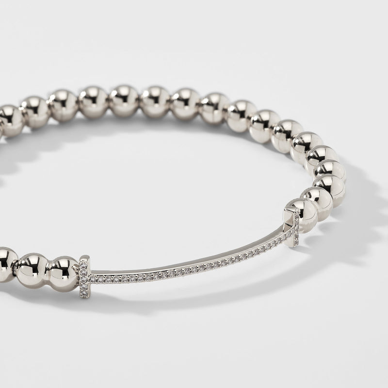 PAVE T BAR BEADED METAL STRETCH BRACELET