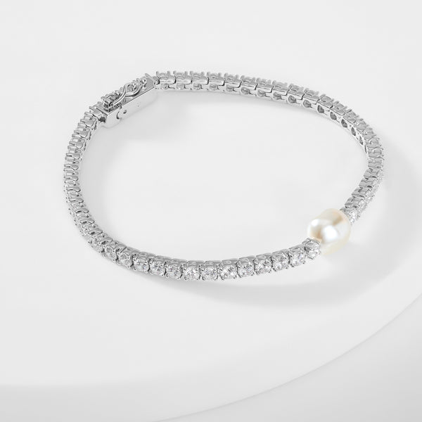BOHEME PEARL AND CZ TENNIS LINK BRACELET