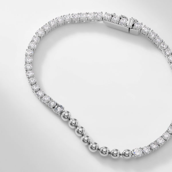 CZ DOT BEADED LINE BRACELET