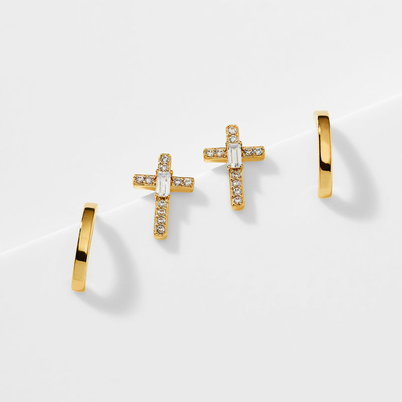 ADORE CZ CROSS STUD SET OF EARRINGS