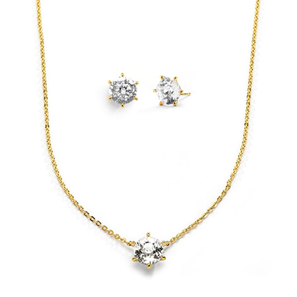 CZ SOLITAIRE GIFT SET - GOLD