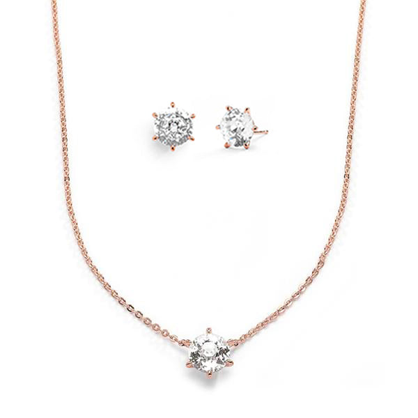 CZ SOLITAIRE GIFT SET - ROSE GOLD
