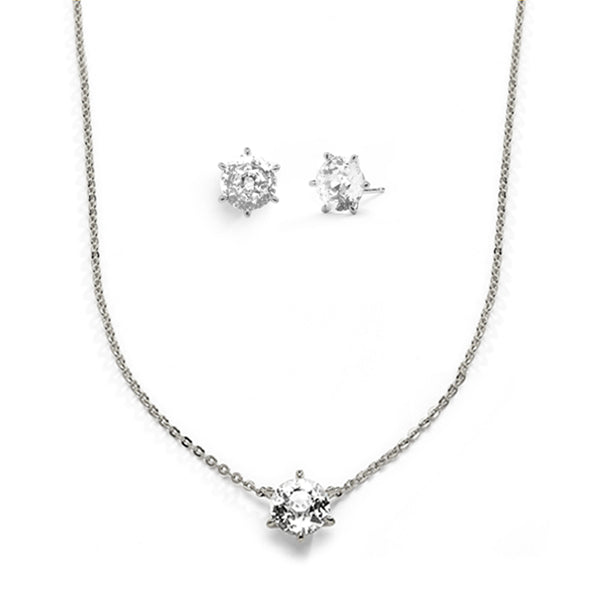 CZ CZ SOLITAIRE GIFT SET - RHODIUM