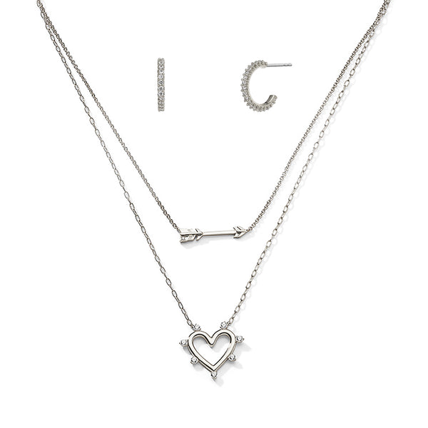 HEART AND HOOPS GIFT SET - RHODIUM