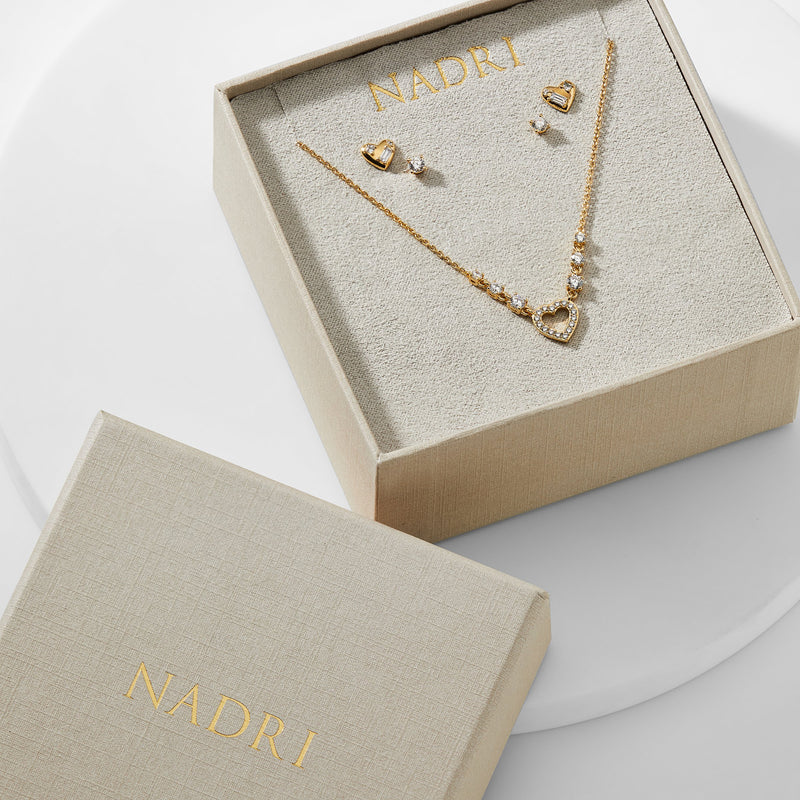 ADORE CZ HEART AND STUD EARRINGS WITH NECKLACE GIFT SET