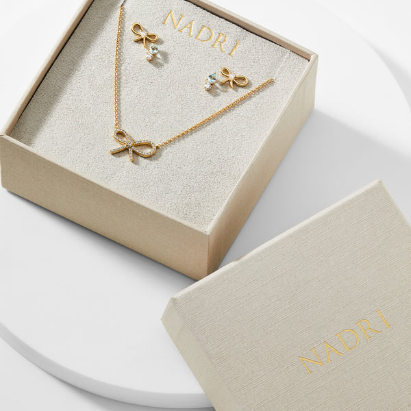 ADORE CZ RIBBON AND STUD EARRINGS WITH NECKLACE GIFT SET