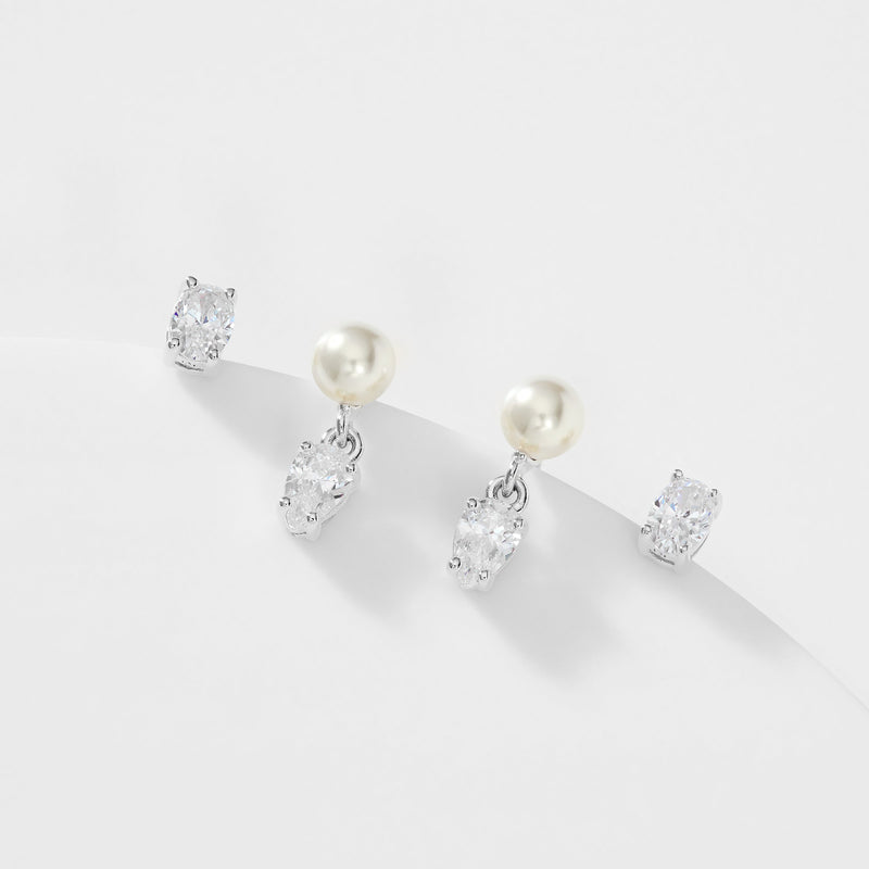 BOHEME PEARL AND CZ STUD AND DROP SET OF EARRINGS