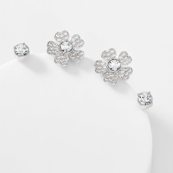 CZ FLOWER SET OF STUD EARRINGS