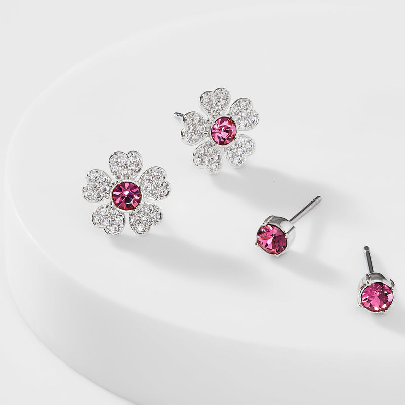 CZ PINK FLOWER SET OF STUD EARRINGS