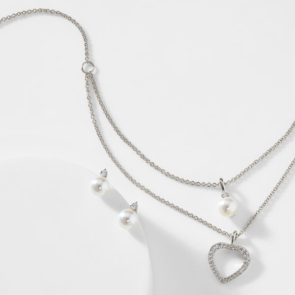 PEARL AND CZ HEART NECKLACE SET