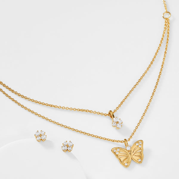 CZ FLOWER STUD EARRINGS AND BUTTERFLY NECKLACE SET