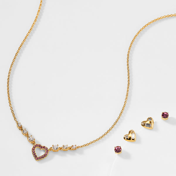 VALENTINE HEART NECKLACE AND STUD EARRINGS SET