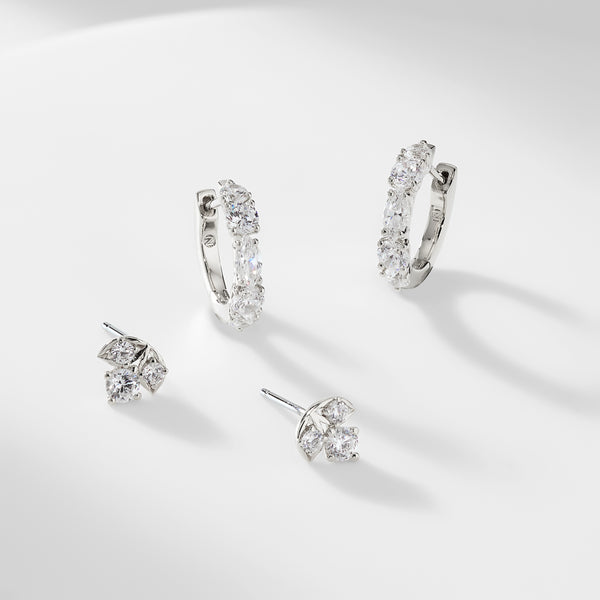 PRIMA CZ STUD AND HUGGIE SET OF STUD EARRINGS