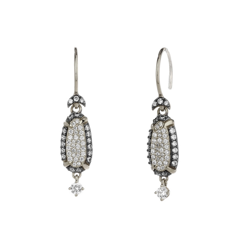 COMO TWO-TONE PAVE CZ WIRE DROP EARRING