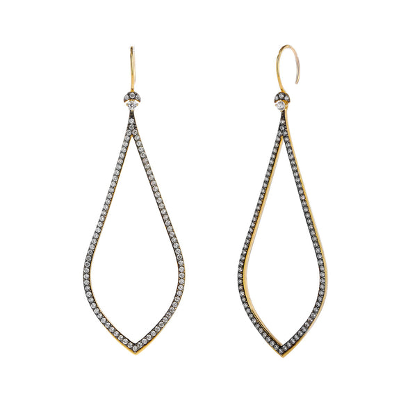 COMO TWO-TONE PAVE CZ OPEN WIRE DROP EARRINGS
