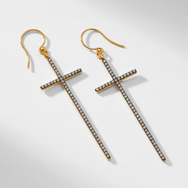 XL PAVE CROSS STERLING SILVER HOOK EARRINGS