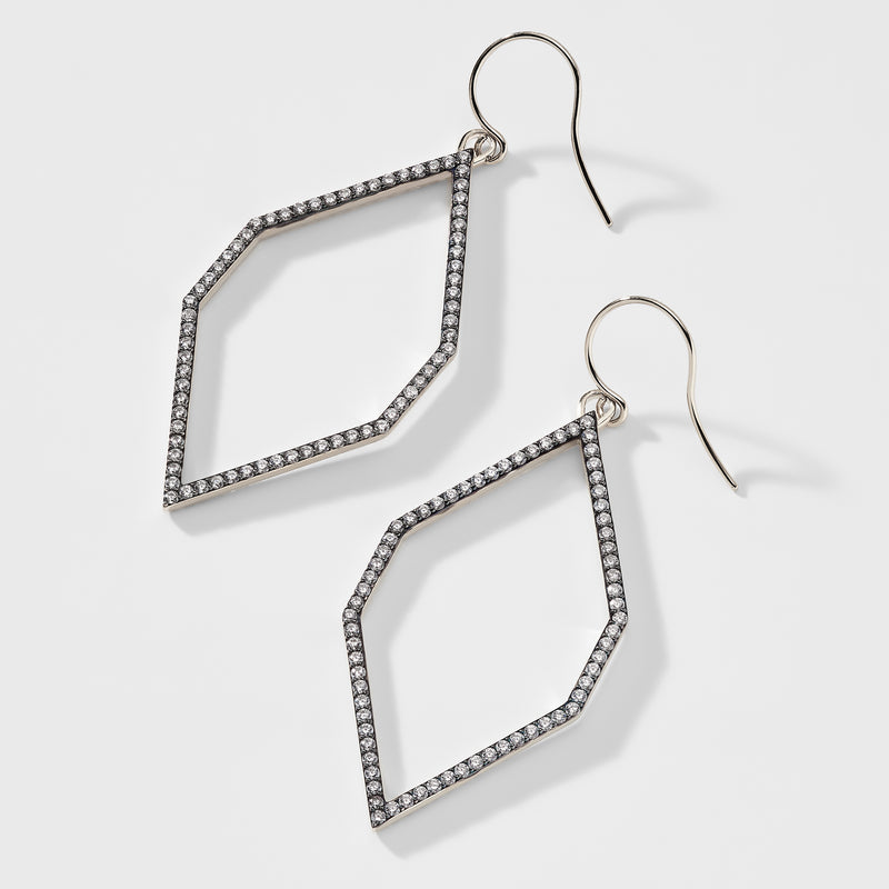 CZ PAVE FRONTAL GEOMETRIC EARRINGS