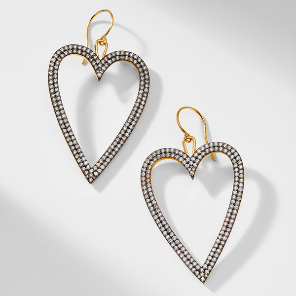XL PAVE HEART STERLING SILVER HOOK EARRINGS
