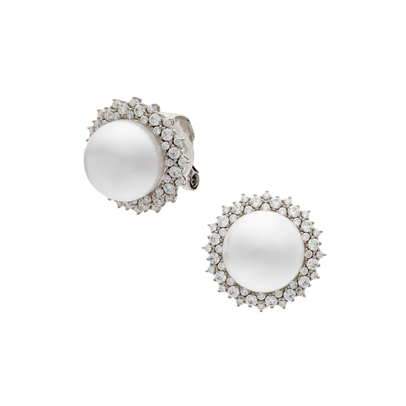 CZ PEARL CLIP EARRINGS