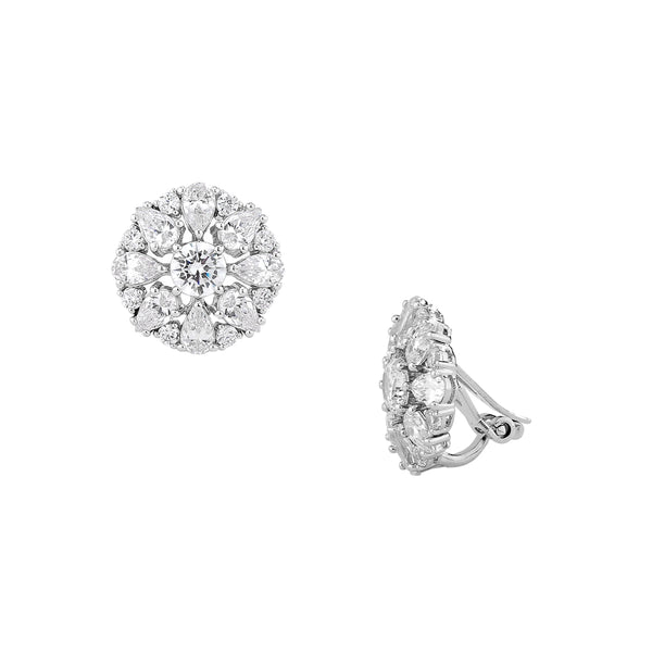 CZ CLUSTER CLIP EARRINGS