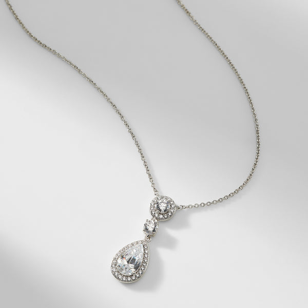 MULTI CUBIC ZIRCONIA FRAMED PENDANT NECKLACE