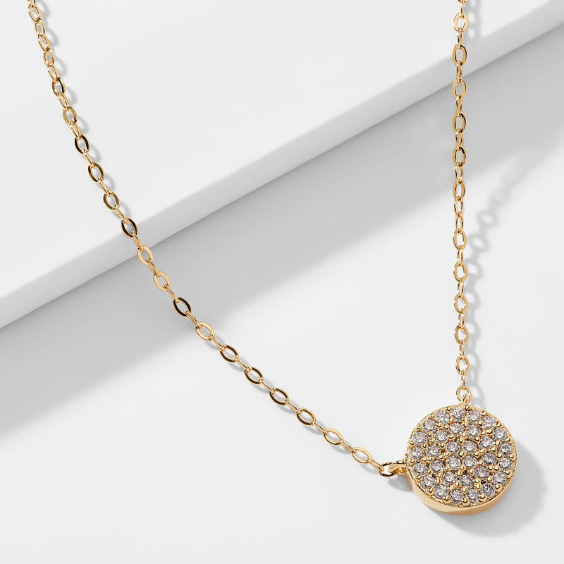 CZ GEO SMALL CIRCLE PENDANT NECKLACE