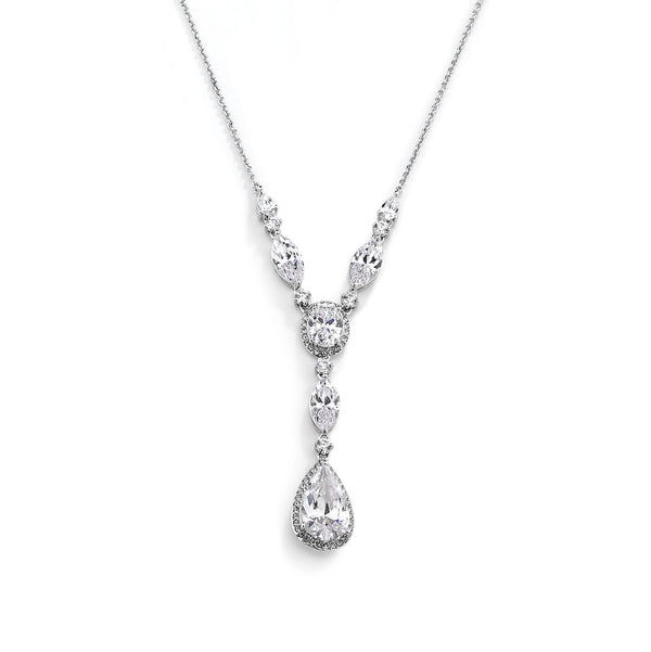 CZ PEAR DROP Y NECKLACE